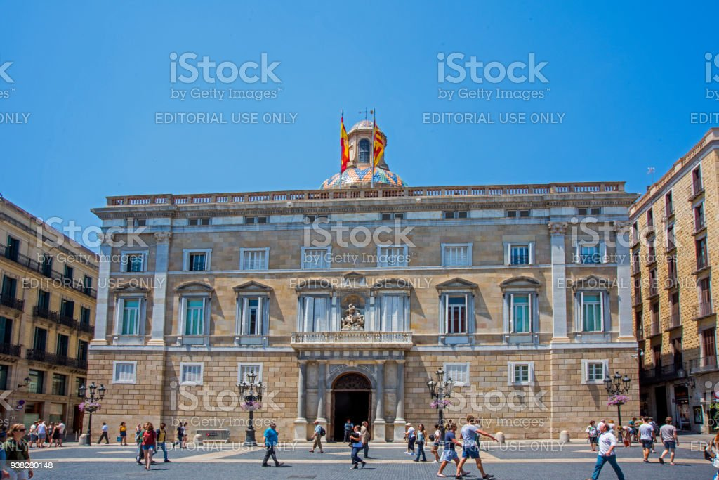 Facade of Autonomous Goverment of Catalonia at San Jaime Square stock photo