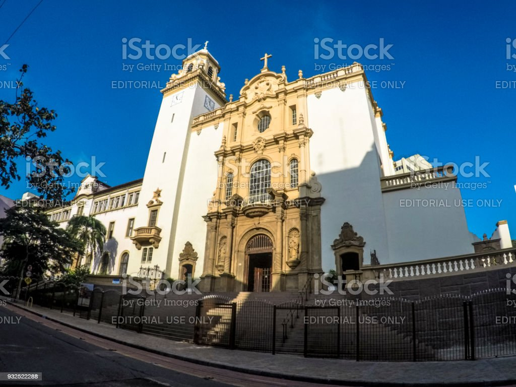 Facade of Basilica of Our Lady of Carmo in Sao Paulo stock photo
