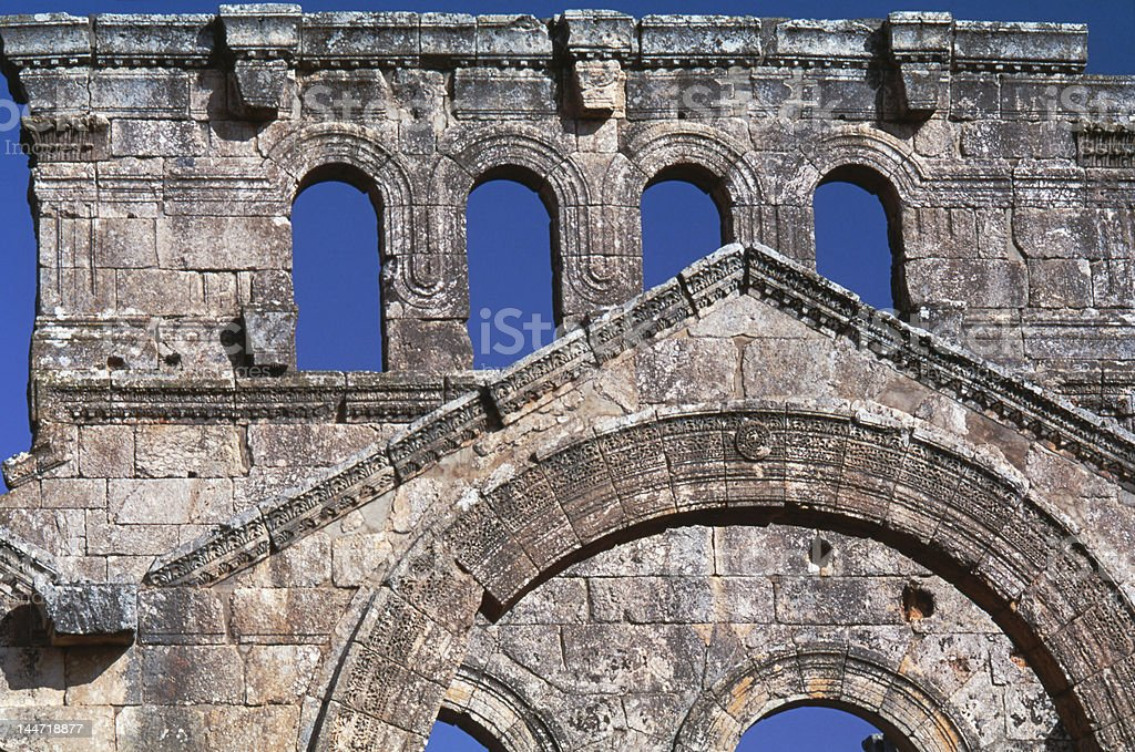 Facade of basilica St Simeon Syria stock photo