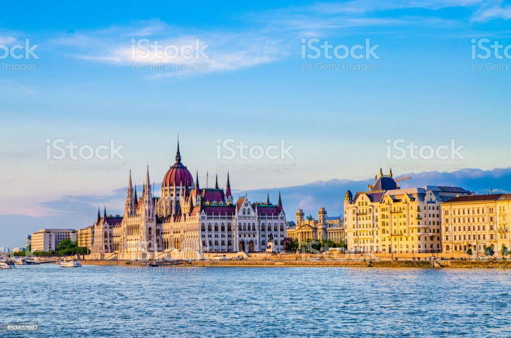Facade of Budapest Parliament seen from other side of Danube river stock photo