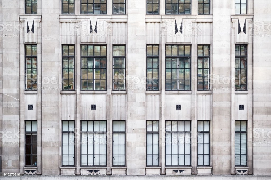 Facade of building with classical windows in London stock photo