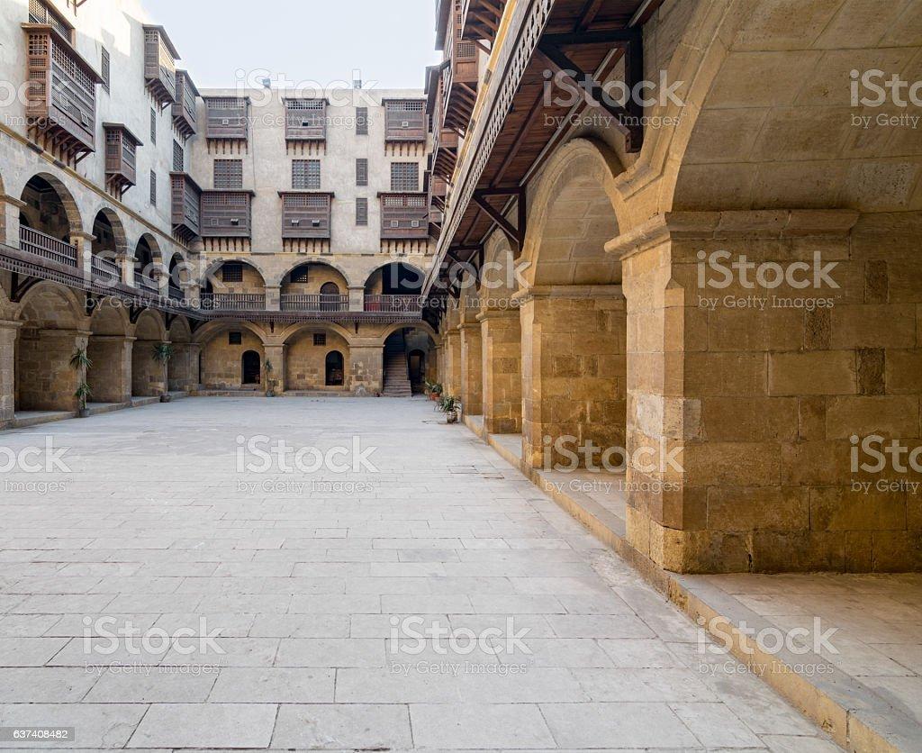 Facade of caravansary (Wikala) of Bazaraa, , Medieval Cairo, Egypt stock photo