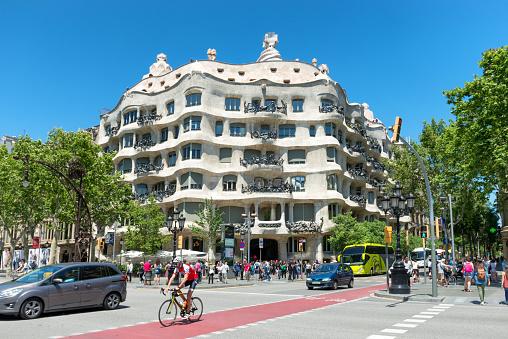 Facade of Casa Mila in Barcelona