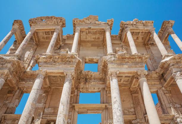 Facade of Celsus library in antique Ephesus. Selcuk in Izmir Province, Turkey Facade of Celsus library in antique Ephesus. Selcuk in Izmir Province, Turkey celsus library stock pictures, royalty-free photos & images