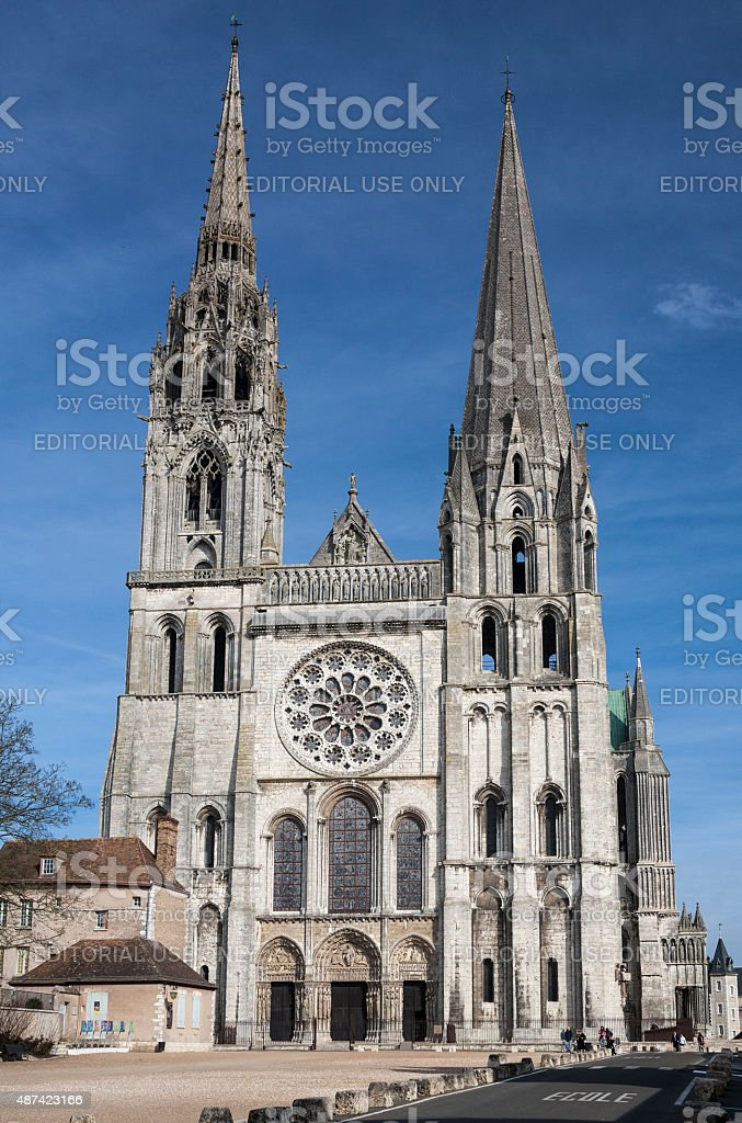 Facade of Chartres Cathedral stock photo