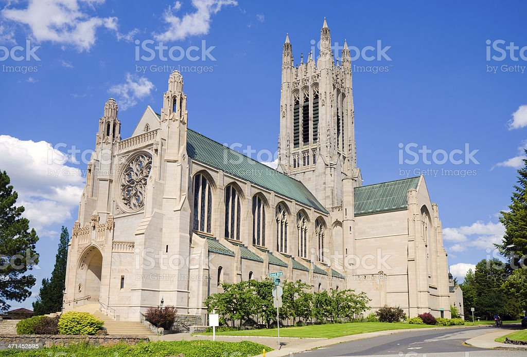 Facade of church in Spokane, WA stock photo