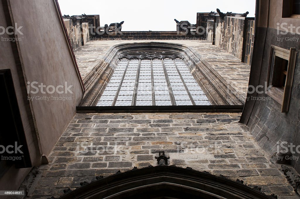 Facade of church stock photo