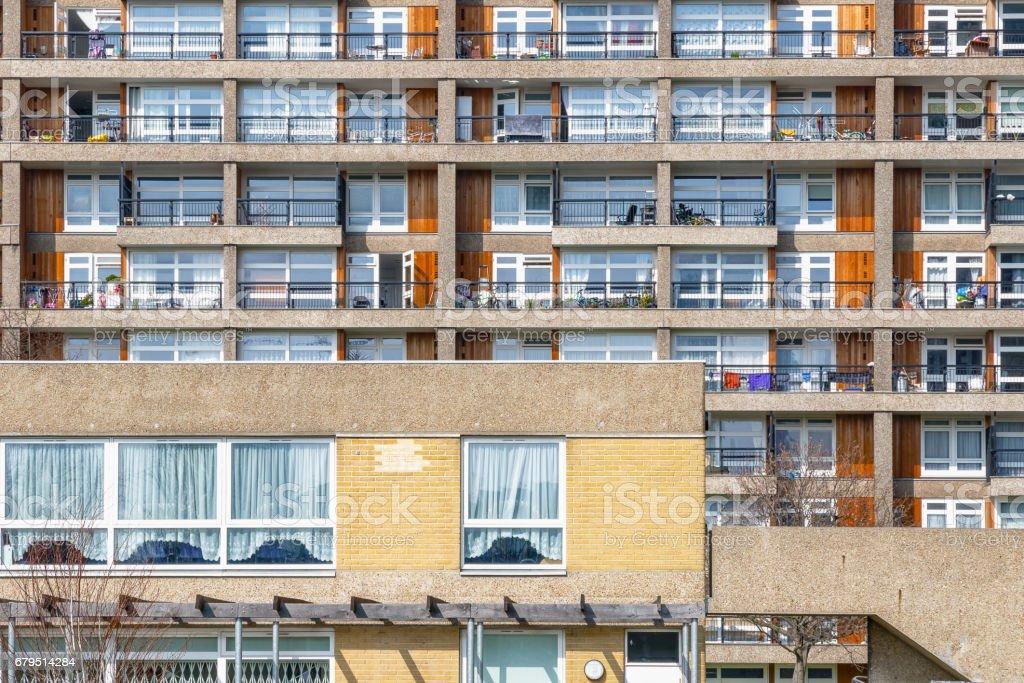 Facade of council housing flats East London stock photo