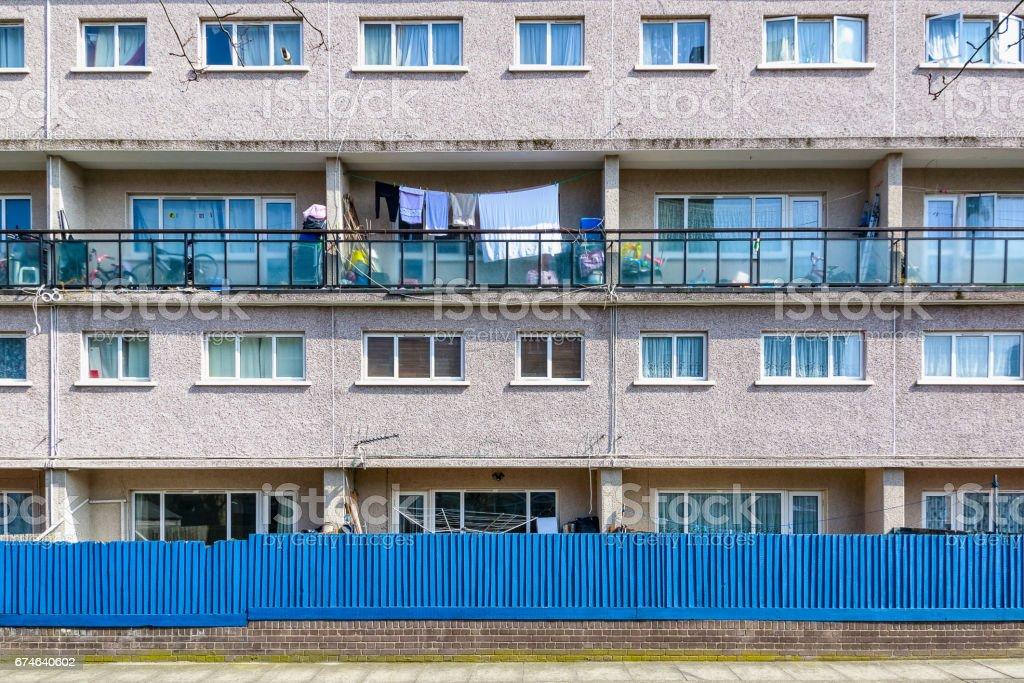 Facade of council housing flats stock photo