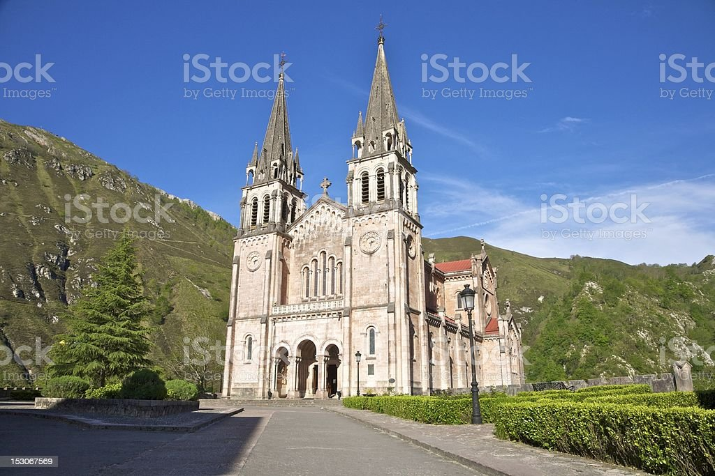 facade of Covadonga basilica royalty-free stock photo