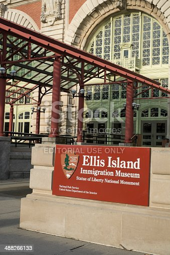 New York City, US - November 22, 2013: Facade of Ellis Island museum, formerly where arriving immigrants had to register.