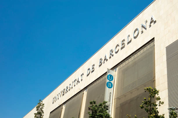 Facade of Faculty of Geography and History of Barcelona University stock photo