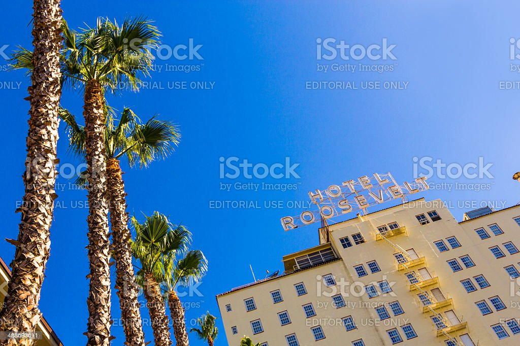 facade of famous historic Roosevelt Hotel stock photo
