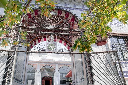 Facade of Fatih Camii (Esrefpasa) old mosque in Izmir, Turkey, Mosque Entrance
