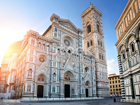 Facade of Florence Cathedral (Duomo Santa Maria Del Fiore), Tuscany, Italy. Composite photo