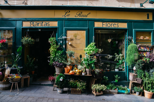Facade of flower shop in Madrid, Spain. Architecture and landmark of Madrid, postcard of Madrid stock photo