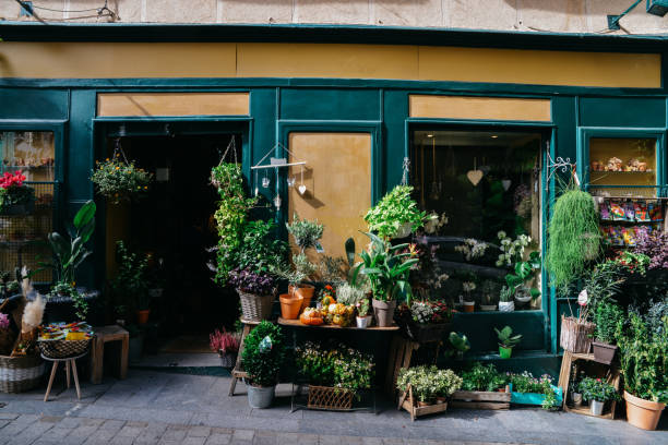 Facade of flower shop with various different types of plants on display stock photo