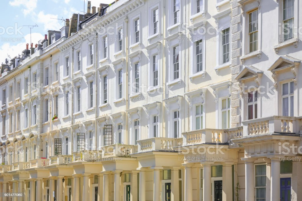 Facade of Georgian style terraced houses in London stock photo