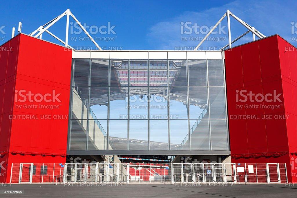 Facade of German soccer stadium Coface Arena stock photo