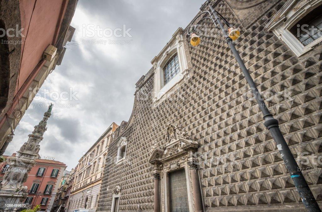Facade of Gesu church in Naples stock photo