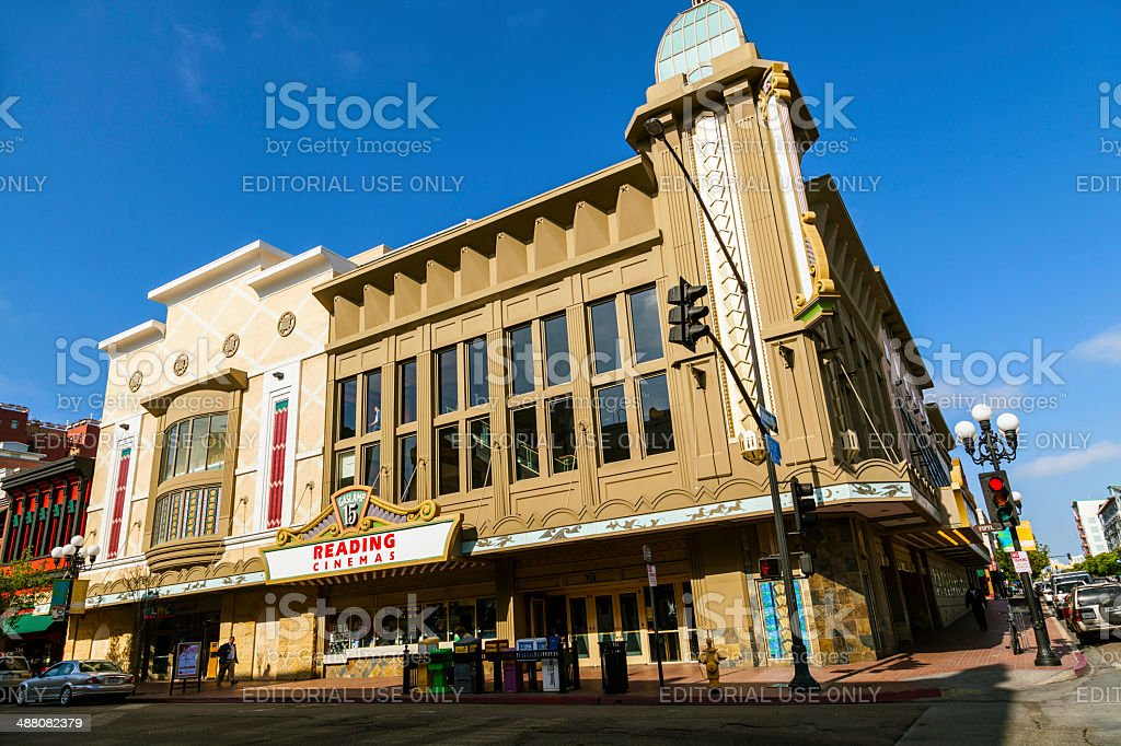 facade of historic houses in gaslamp quarter in San Diego royalty-free stock photo