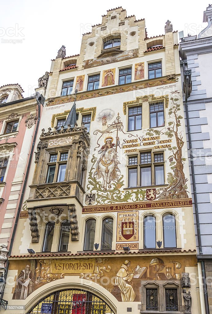 facade of historical building in prague royalty-free stock photo