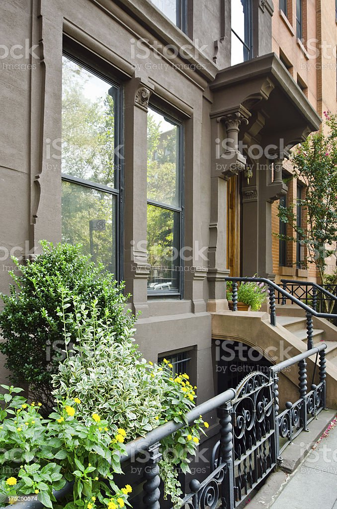 Facade of home at Brooklyn Heights in New York City royalty-free stock photo