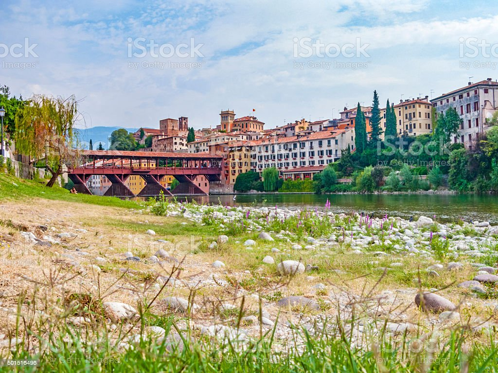 Facciata di palazzo sul fiume brenta - foto stock