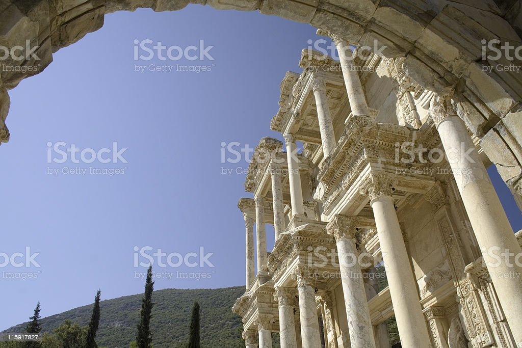 Facade of library at Ephesus, Turkey. stock photo