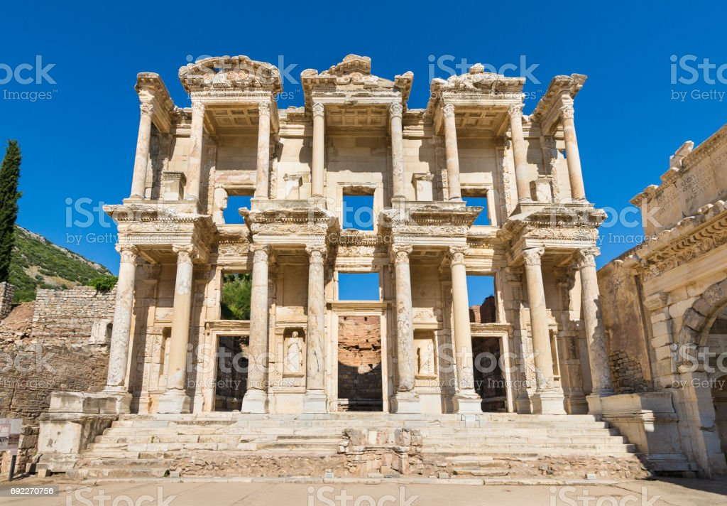 Facade of Library of Celsus in Ephesus, Turkey stock photo