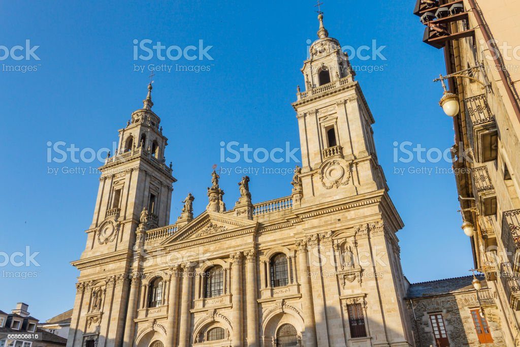 Facade of Lugo Cathedral stock photo