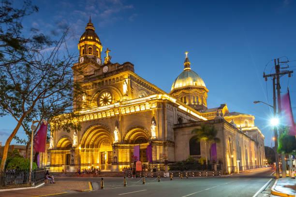 Facade of Manila Cathedral stock photo