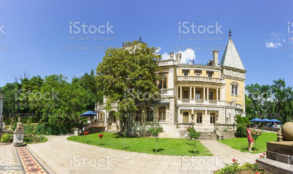 YALTA, CRIMEA, RUSSIA - JUNE 07.2016: Facade of Massandra Palace of Emperor Alexander III . stock photo