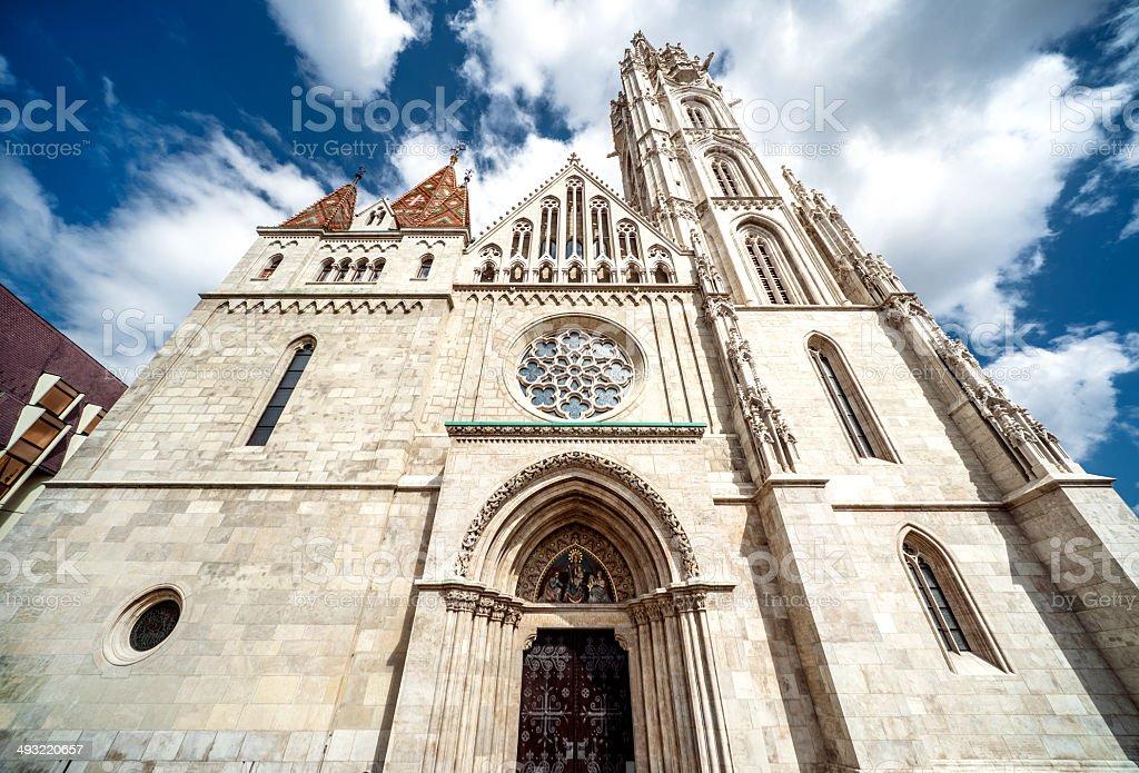 Facade of Matthias Church royalty-free stock photo
