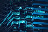 istock Facade of modern building at night 1277557066
