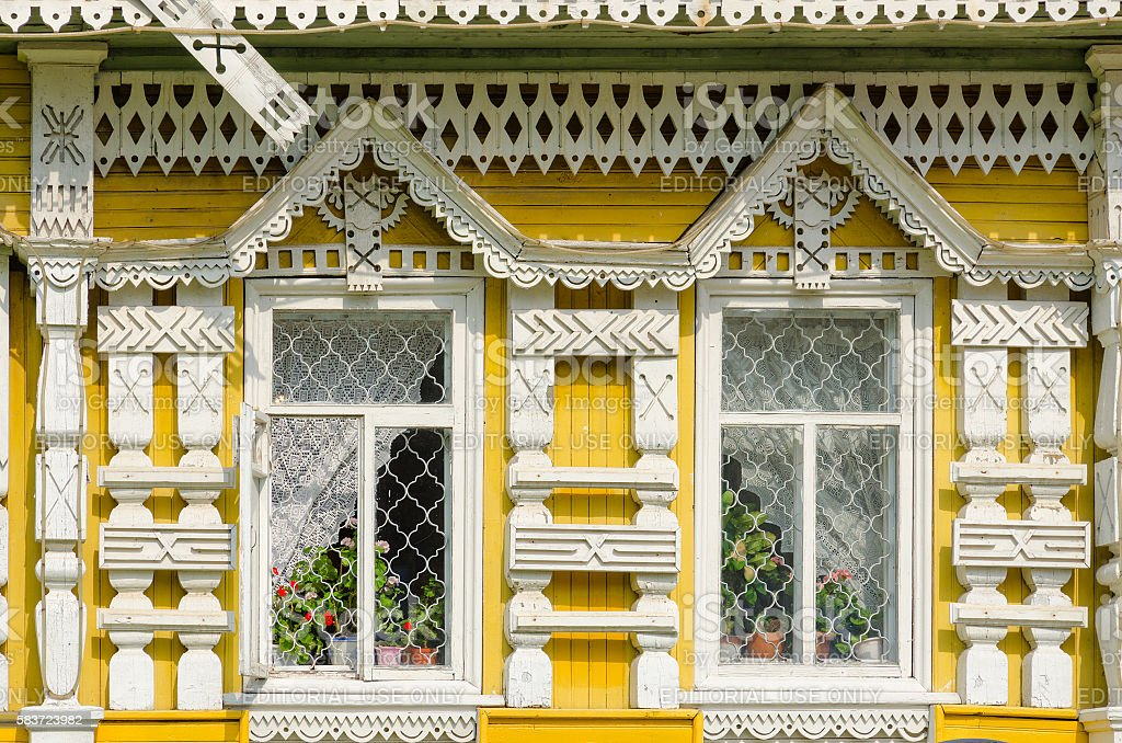 Facade of museum of city mode of life, Uglich, Russia stock photo