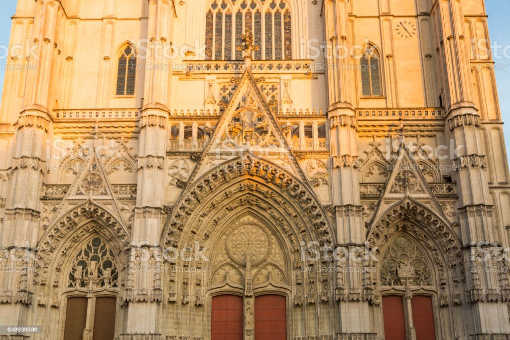 Facade of Nantes Cathedral in France stock photo