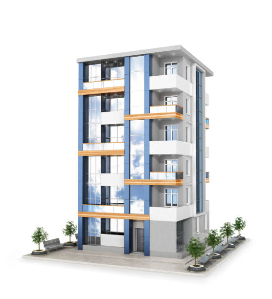 Facade of new modern apartment building. 3d illustration stock photo