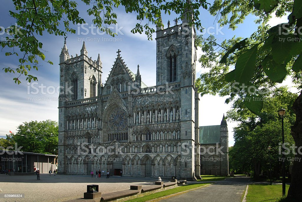 Facade of Nidaros cathedral, Trodheim, Norway stock photo