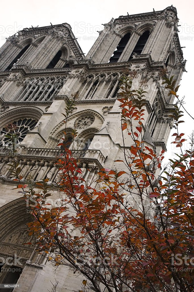 Facade of Notre Dame's Cathedral, Paris royalty-free stock photo