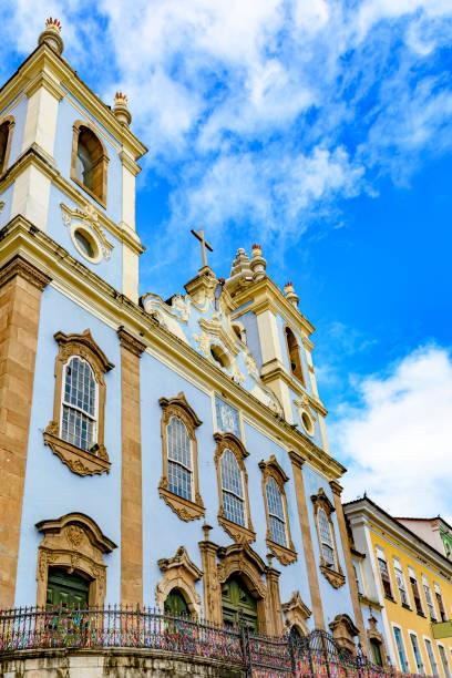 Facade of old church in Salvador, Bahia stock photo