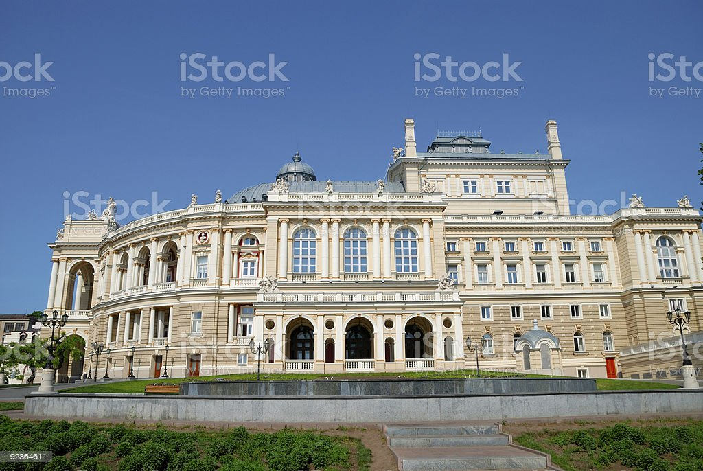 Facade of opera house in Odessa, Ukraine royalty-free stock photo