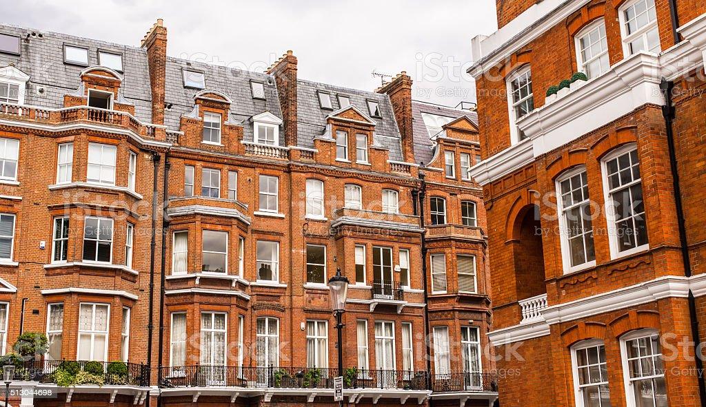 Facade of opulent  British Victorian Edwardian terraced flat stock photo