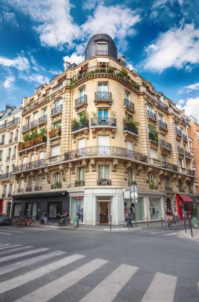 Facade of Parisian building stock photo