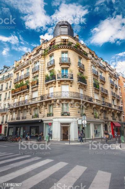 Facade Of Parisian Building Stock Photo - Download Image Now