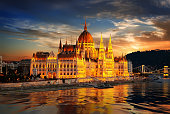 Facade of Hungarian Parliament in Budapest illuminated at sunset