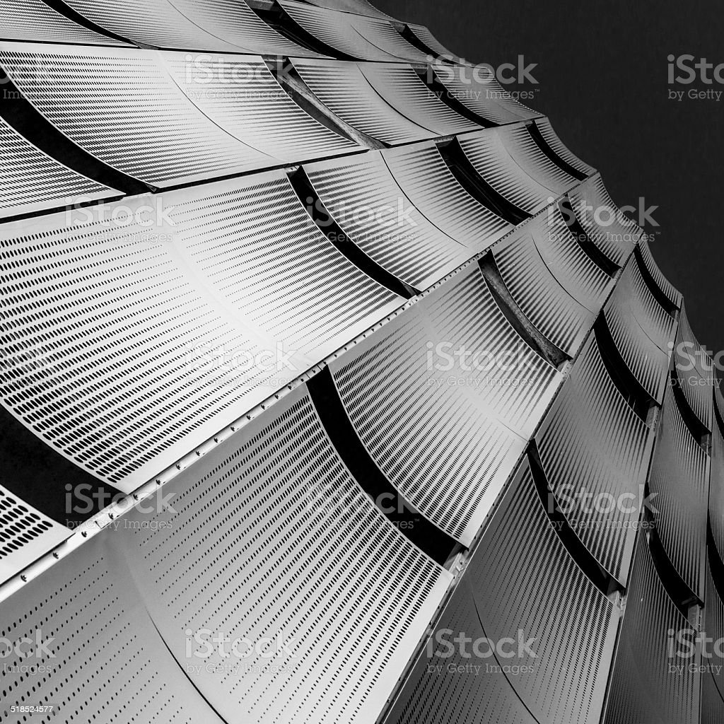 Facade of perforated metal sheets stock photo