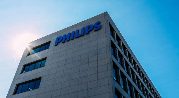 Facade of Philips HQ in Sanchinarro, Madrid, Spain stock photo