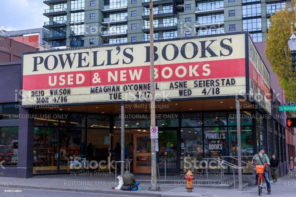Facade of Powell's Books, which is the World's Largest Independent Bookstore stock photo