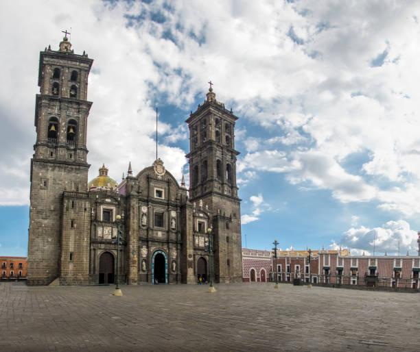 Facade of Puebla Cathedral - Puebla, Mexico Facade of Puebla Cathedral - Puebla, Mexico puebla state stock pictures, royalty-free photos & images
